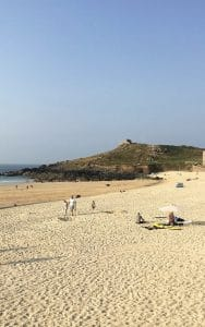 View of The Island Chapel from Porthmeor Beach