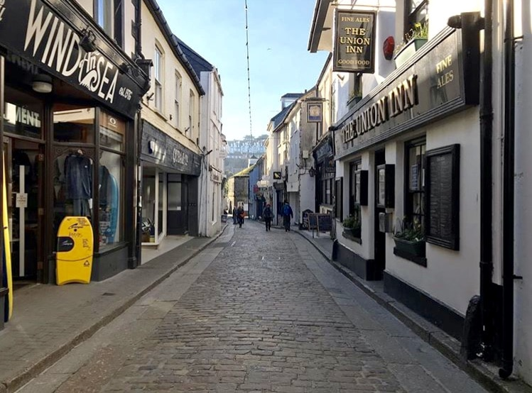 Fore Street St Ives in winter